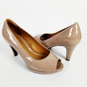 CLARKS Collection Patent Leather Peep Toe Heels